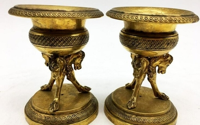 Pair of Gilt Bronze Bowls on Stands