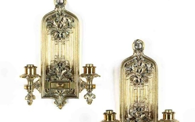 Pair of Gothic Style Brass Sconces