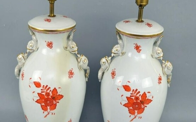 Pair of Herend Chinese Bouquet Porcelain Lamps