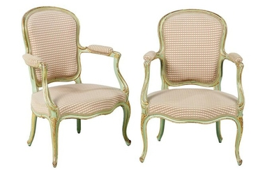 Pair of Louis XV-Style Parcel-Gilt Fauteuils