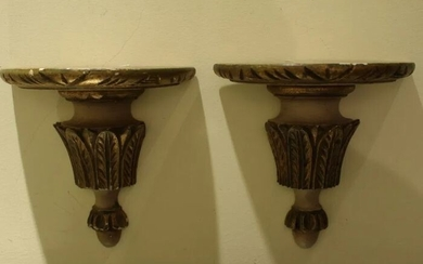 Pair of Pedestals in 19th Century Golden Carving - Wood - 1890