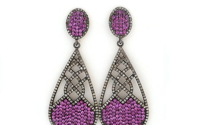 Pair of Pink Sapphire, Diamond, Sterling Silver