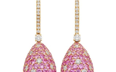 Pair of Rose Gold, Pink Sapphire and Diamond Pendant-Earrings