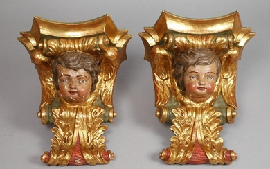 Pair of figural wall consoles baroque