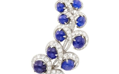 Platinum, Cabochon Sapphire and Diamond Clip-Brooch