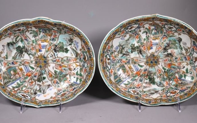Pr Chinese 19 C Enameled Porcelain Oval Plates