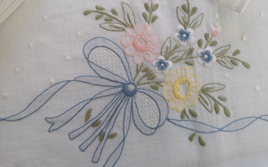 Pure linen tablecloth x12 with embroidery Full stitch knot of love by hand - Linen - After 2000