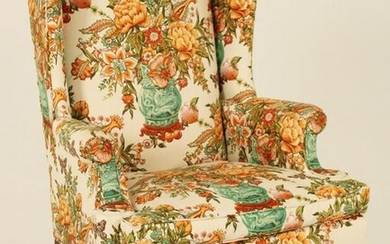 QUEEN ANNE STYLE WINGED ARMCHAIR WITH DESIGNER