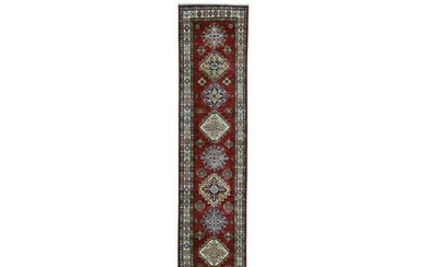 Red Super Kazak Pure Wool Geometric Design Hand-Knotted