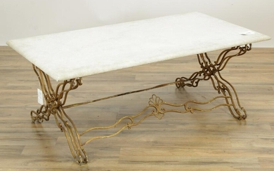 Rococo Style Gold Painted Metal Coffee Table