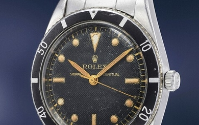 Rolex, Ref. 6204 An exceedingly rare and historically important stainless steel wristwatch with honeycomb dial and bracelet