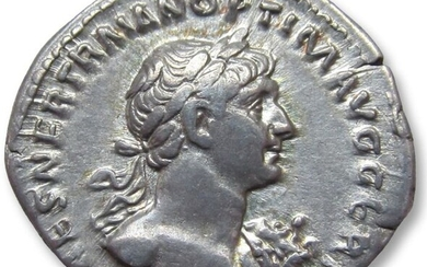 Roman Empire Trajan (AD 98-117). Silver Denarius- scarce bare bust variety with aegis, Rome 116-117 A.D. - PARTHICO P M TR P COS VI, Mars walking right