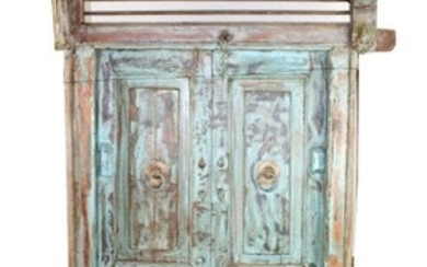 Rustic painted double window with surround