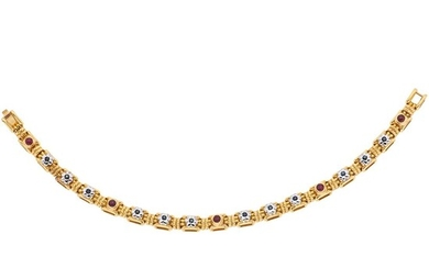 SAPPHIRES AND RUBIES WRISTBAND. 18K YELLOW GOLD. ZANCAN