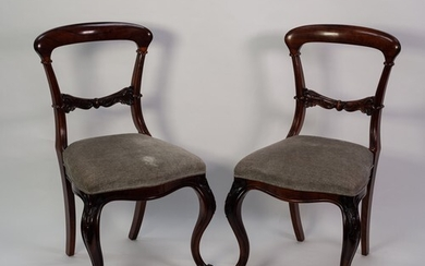 SET OF SIX VICTORIAN CARVED ROSEWOOD SINGLE DINING CHAIRS, e...