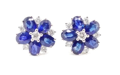 "Sapphire and diamond set ""flower"" earrings set in 18ct white..."
