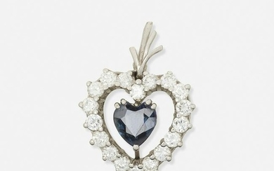 Sapphire, diamond, and white gold heart pendant