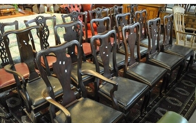 Set of 10 mahogany Queen Anne style dining chairs with drop ...