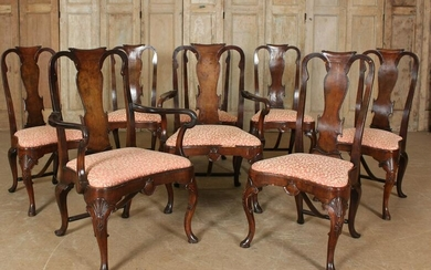 Set of 8 Queen Anne Style Dining Chairs