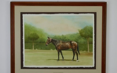 Signed 20th c American W/c portrait of a horse