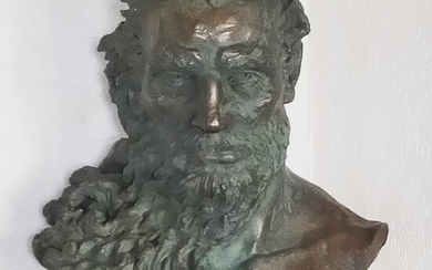 Signed Shcherbakova - Sculpture, Bust of Poseidon, the Mighty Lord of Sea and Thunder - Mid-Century Modern