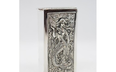 Silver plated vesta case with chased decoration of mermaid