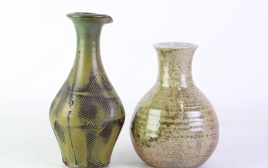 Spatter Glaze Studio Pottery Vase Together with a Lipped Vase with Incised Detailing, in Brown Tones, signed and stamped to bases, h...