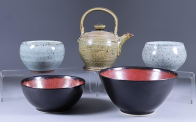 Suleyman Saba (20th/21st Century) - Five stoneware pots, including...