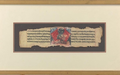 TWO TIBETAN AND THAI BUDDHIST MANUSCRIPT PAGES 17TH/19TH CENTURIES
