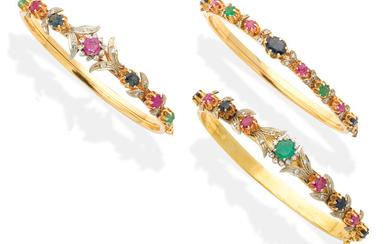 Three gem-set bangles