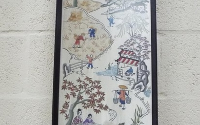 Three oriental tapestries embroidered onto silk. Signed LES...