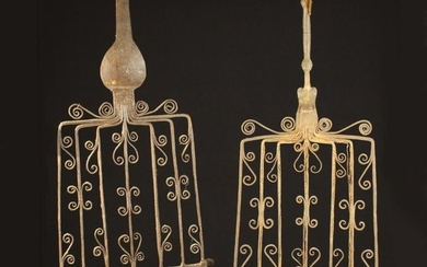 Two 17th/18th Century Type Wrought Iron Gridirons having decorative scrollwork to the bars, mounted