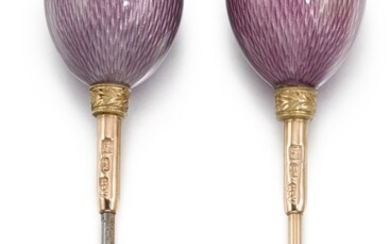 Two Fabergé gold-mounted guilloché enamel hat pins, workmaster August Hollming, St Petersburg, circa 1890