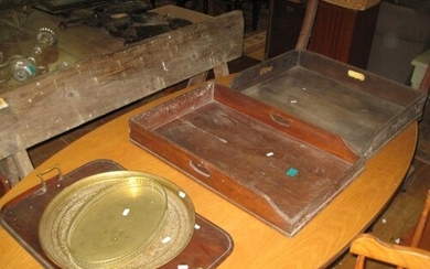 Two Georgian Mahogany Butlers Trays ( no stands ) together w...