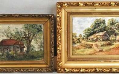 Two Rustic O/C, O/B Cottage Landscapes