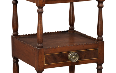 VERY FINE FEDERAL FIGURED CHERRYWOOD AND MAHOGANY WORK TABLE, NEW HAMPSHIRE, CIRCA 1800