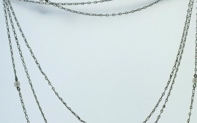 VICTORIAN TITANIUM NATURAL PEARL LONG CHAIN NECKLACE