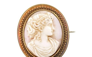 Victorian cameo gold locket brooch with well carved side por...
