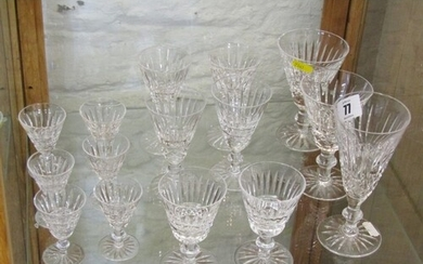 WATERFORD, collection of cut glass tableware of graduated go...