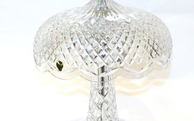 Waterford crystal 'Achillbeg' mushroom shaped table lamp, 50cm high, with...