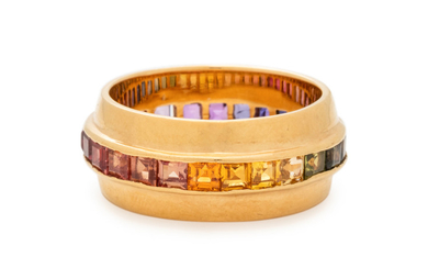 YELLOW GOLD AND MULTICOLOR SAPPHIRE RING