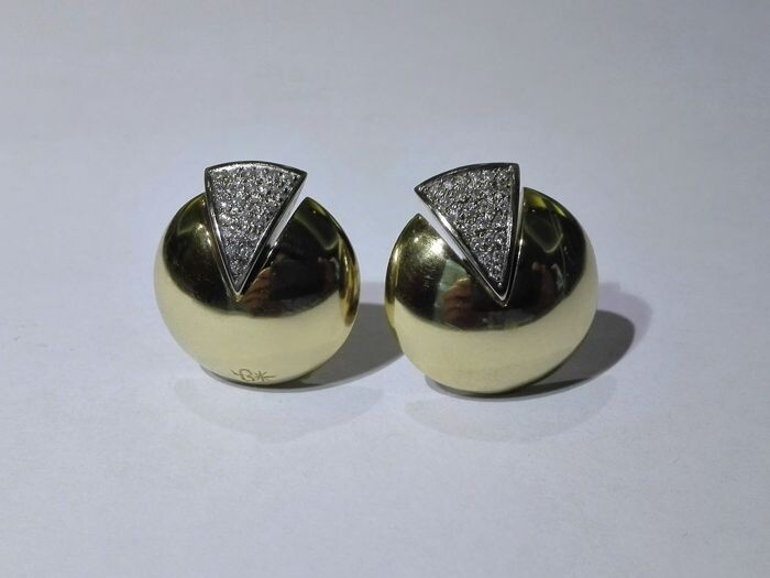 Yellow gold - Earrings - 0.45 ct Diamond