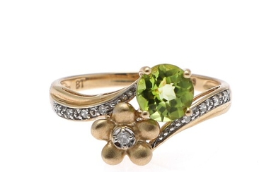 a peridot and diamond ring set with a circular-cut peridot and numerous brilliant and single-cut diamonds, mounted in 14k gold. Size app. 57.5.