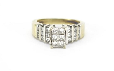 14ct gold diamond cluster ring, size M, 6.8g