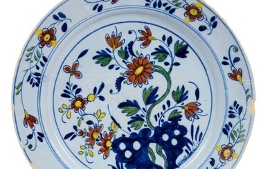 18th century English Delft polychrome charger