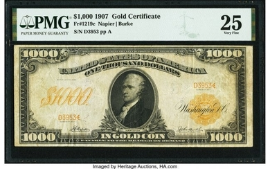 20078: Fr. 1219c $1,000 1907 Gold Certificate PMG Very
