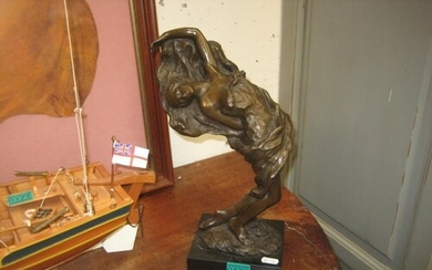 20th Century School Bronzed Figure of a Lady on a Marble Bas...