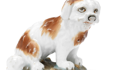 A MINIATURE PORCELAIN FIGURE OF A DOG, BY THE POPOV PORCELAIN FACTORY, MOSCOW, MID-19TH CENTURY