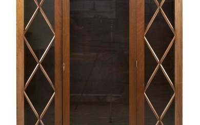 FEDERAL-STYLE CHINA CABINET After a Colonial Williamsburg example. In mahogany and mahogany veneer with fruitwood string and bellflo...