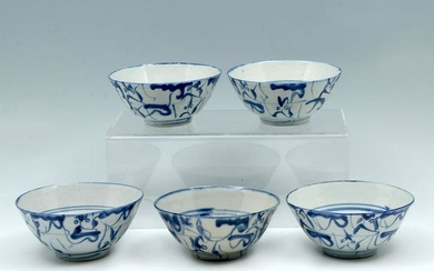 5 PC. EARLY CHINESE BLUE & WHITE BOWLS